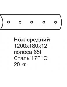 Нож средний ГС-10.01 (1200х180х12) (передний отвал)